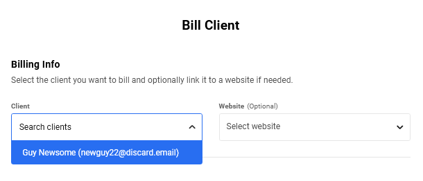 Billing a client in Client Billing