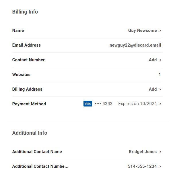 Client's billing info in Client Billing