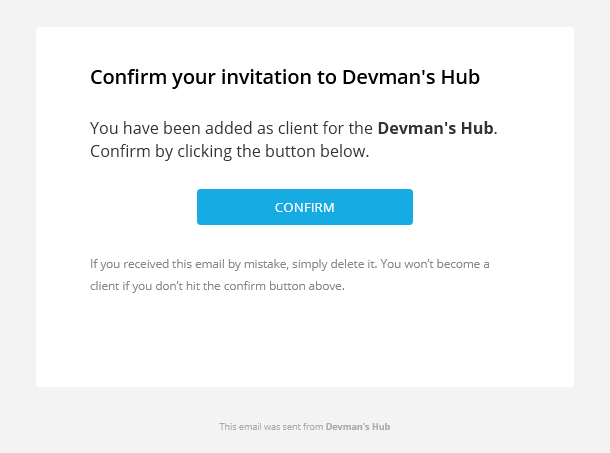 Invitation email from Client Billing