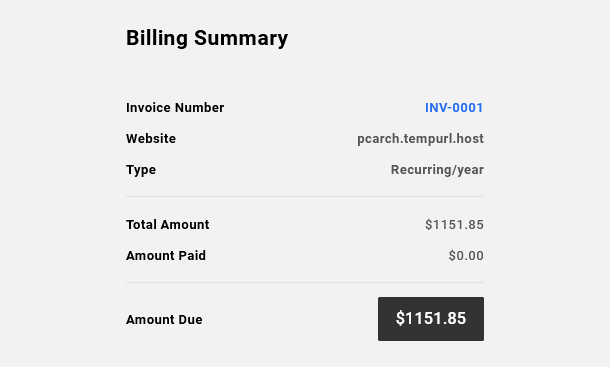 Invoice summary when making payment in Client Billing