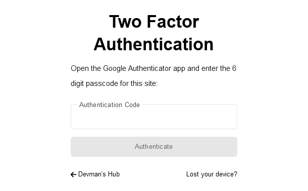 Two-factor authentication enabled in the Hub Client plugin