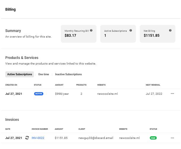Client's site billing in Client Billing