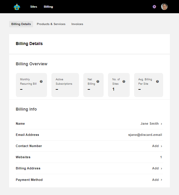 Client account view in Client Billing