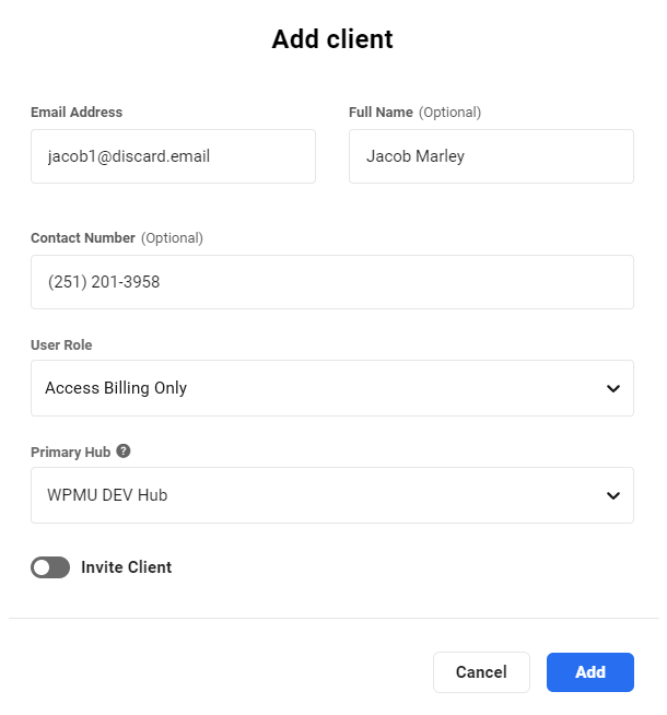 Add clients in Client Billing