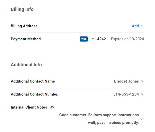 Custom fields in client profile in Client Billing