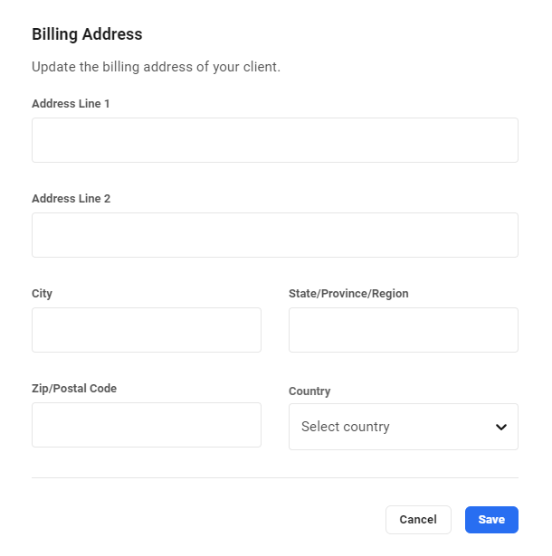 Edit client billing address in Client Billing