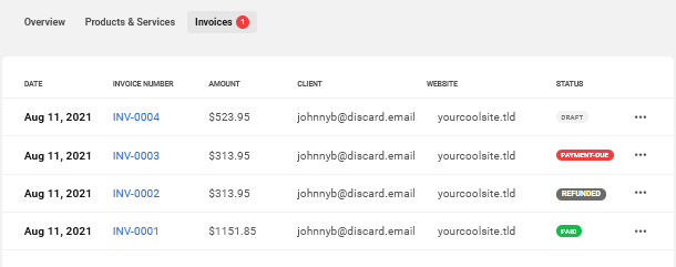 Client's invoices in Client Billing