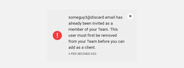 Existing Team member error message