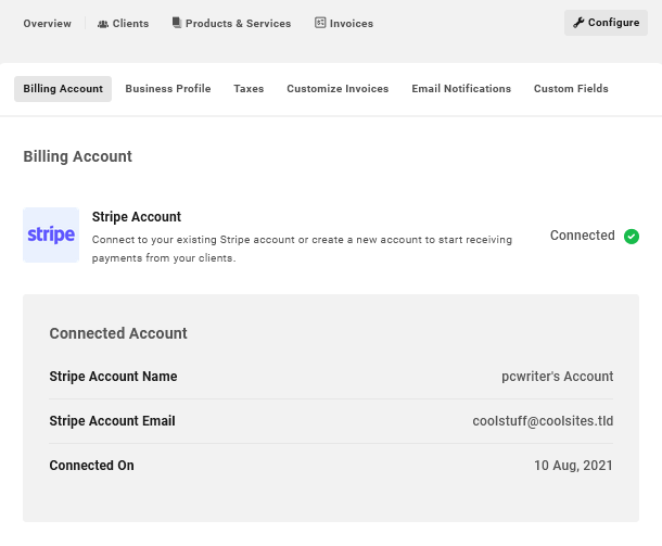 Account settings in Client Billing