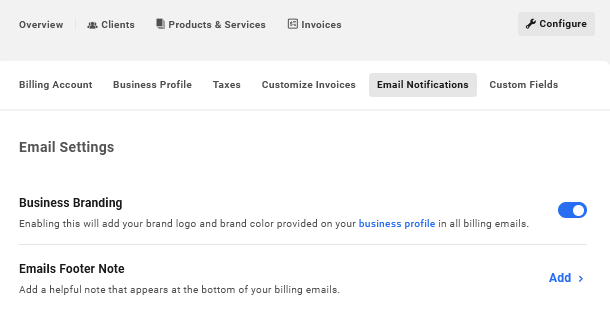 Customize emails in Client Billing