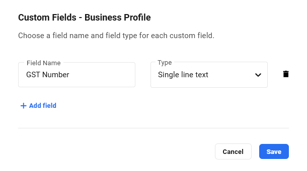 Create custom fields for business profile in Client Billing