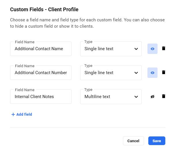 Create hidden client profile fields in Client Billing