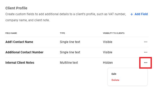 Edit or delete custom fields in Client Billing