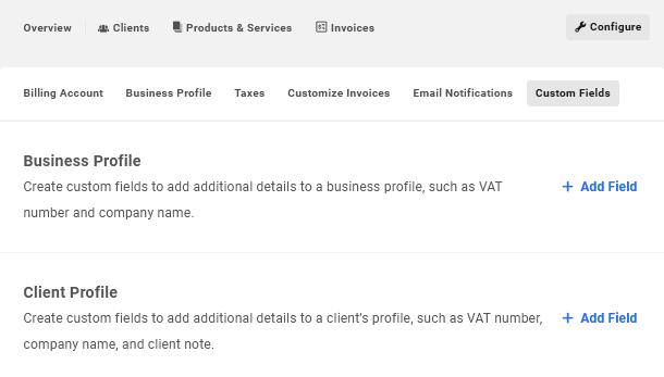 Create custom fields in Client Billing