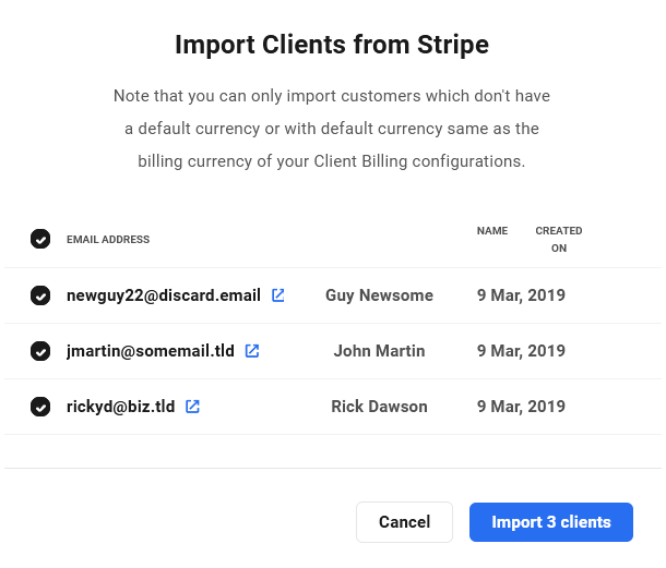 Import clients from Stripe in Client Billing