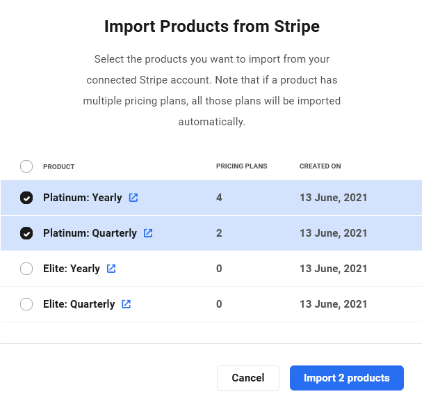 Import products from Stripe in Client Billing
