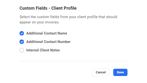 Manage custom fields added to invoices in Client Billing
