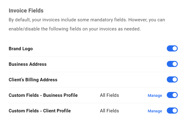 Add optional fields to invoices in Client Billing