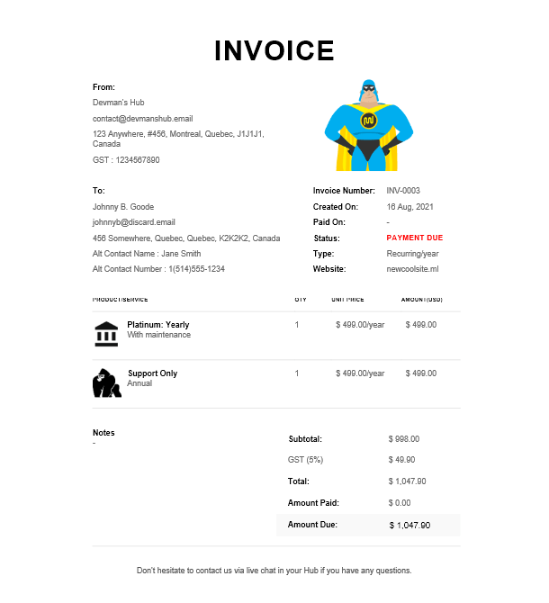 Example invoice in Client Billing