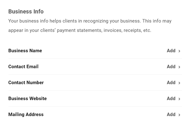 Business profile options in Client Billing