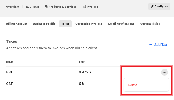 Delete taxes created in Client Billing