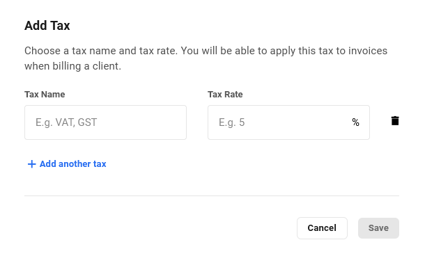 Create taxes in Client Billing
