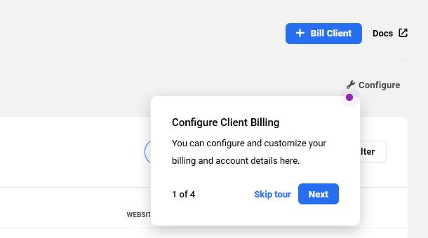 Start Client Billing tour