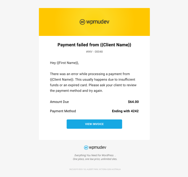 Client Billing email to member example - payment failed