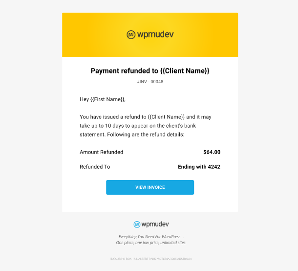 Client Billing email to member example - payment refunded