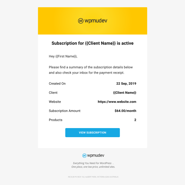 Client Billing email to member example - subscription started