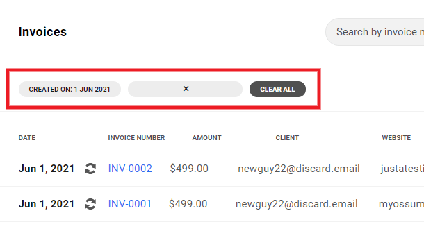 Clear invoice filters in Client Billing