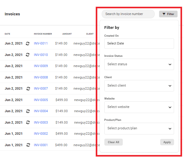 Filter invoices in Client Billing