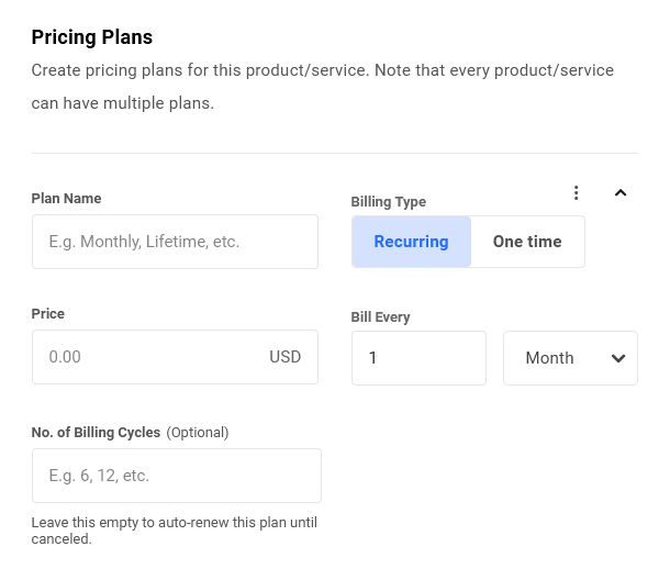 Create a pricing plan for a product in Client Billing