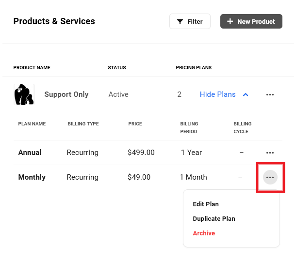 Pricing plan details in a product in Client Billing