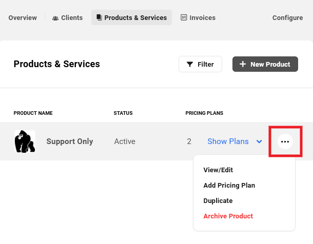 Pricing plan added to a product in Client Billing