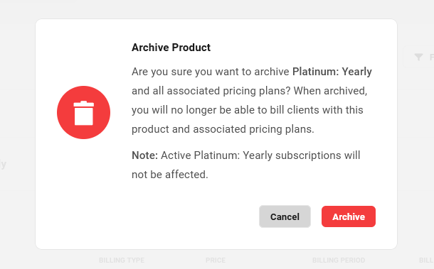 Archiving a pricing plan in Client Billing