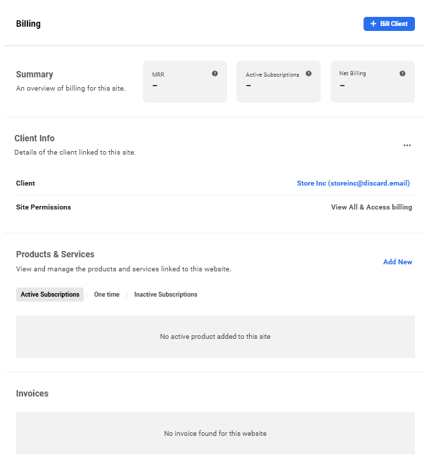 Client added to site in Client Billing