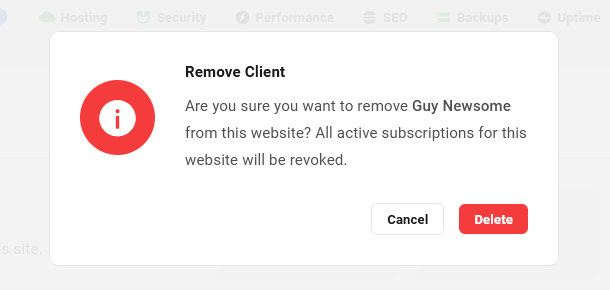 Confirm removal of client from site in Client Billing