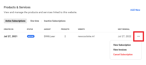 Options for active subscriptions for a site in Client Billing