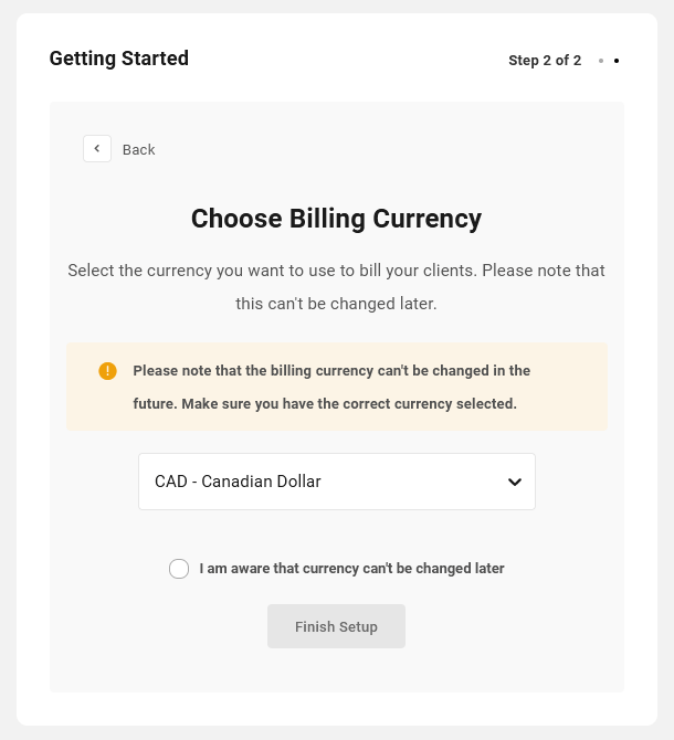 Select Stripe currency to use in Client Billing