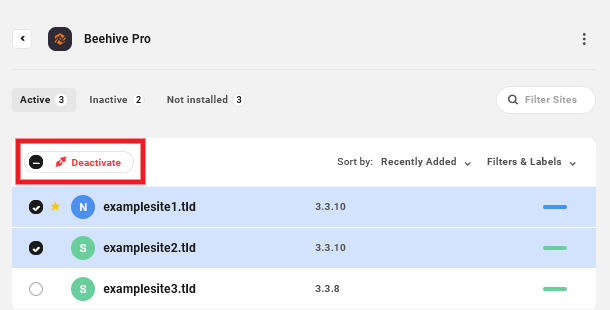 Deactivate plugins in bulk