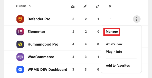 manage button
