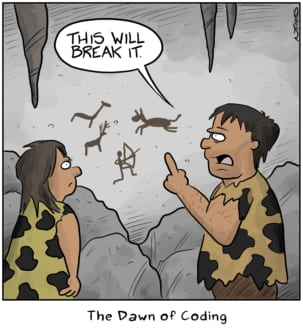 Funny cartoon of Cavemen looking at early coding