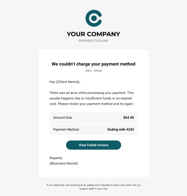 Client Billing email to client example - payment failed