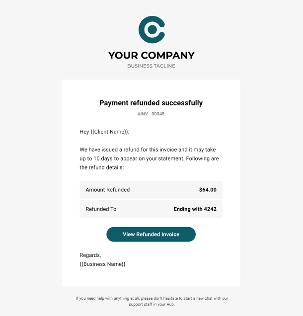 Client Billing email to client example - payment refunded