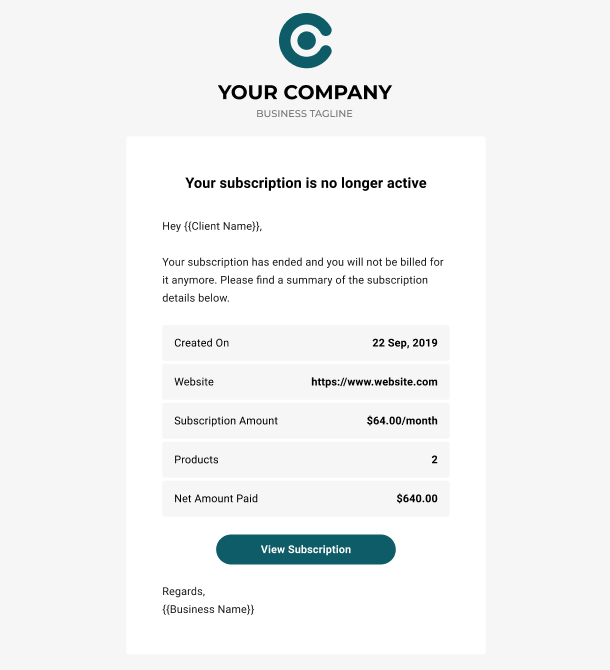 Client Billing email to client example - subscription ended