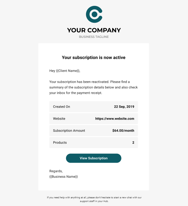 Client Billing email to client example - subscription reactivated