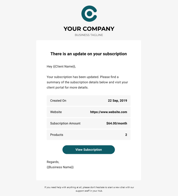 Client Billing email to client example - subscription updated