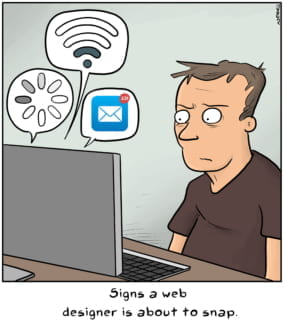 Funny cartoon of web designer about to snap