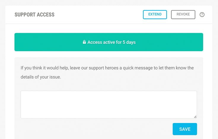 Give Access for support.
